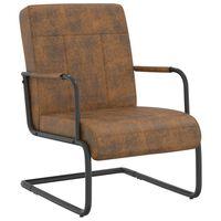 vidaXL stol med cantilever stof brun