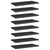 vidaXL boghylder 8 stk. 40x20x1,5 cm spånplade sort højglans
