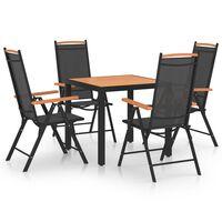 vidaXL spisebordssæt til haven 5 dele aluminium sort