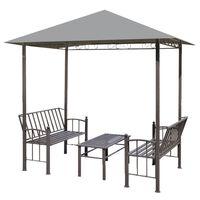 vidaXL havepavillon med bord og bænke 2,5x1,5 x2,4 m antracitgrå