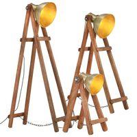 vidaXL gulvlamper 3 stk. E27 massivt mangotræ messingfarvet