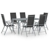 vidaXL spisebordssæt til haven 7 dele aluminium sølvfarvet og sort