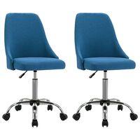 vidaXL kontorstole på hjul 2 stk. stof blå
