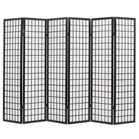 vidaXL foldbar 6-panels rumdeler japansk stil 240 x 170 cm sort