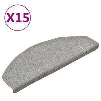 vidaXL trappemåtter 15 stk. 65x24x4 cm lysegrå