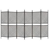 vidaXL 6-panels rumdeler 360x200 cm polyrattan brun
