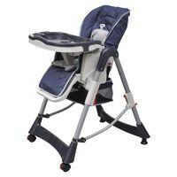 vidaXL babyhøjstol Deluxe mørkeblå højdejusterbar