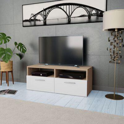 vidaXL TV-skab spånplade 95 x 35 x 36 cm egetræ og hvid