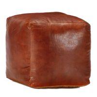 vidaXL puf 40 x 40 x 40 cm ægte gedeskind gyldenbrun