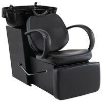 vidaXL salonstol med vask kunstlæder sort