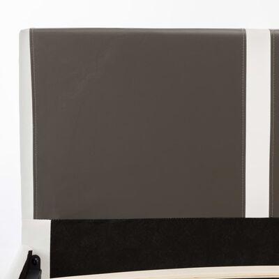 vidaXL seng med madras 160 x 200 cm grå og hvid kunstlæder
