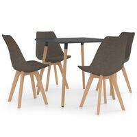 vidaXL spisebordssæt 5 dele gråbrun