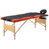 vidaXL foldbart massagebord 3 zoner træ sort og orange