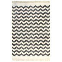 vidaXL kilim-tæppe med mønster bomuld 120 x 180 cm sort/hvid