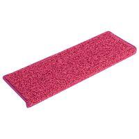 vidaXL 15 stk. trappemåtter 65x25 cm pink