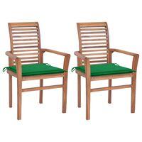 vidaXL spisebordsstole 2 stk. med grønne hynder massivt teaktræ