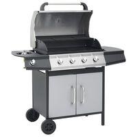 vidaXL gasgrill 4+1 grillzoner stål og rustfrit stål sort og sølvfarvet