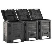 vidaXL kompostbeholder 1200 l sort