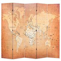 vidaXL foldbar rumdeler 200 x 170 cm verdenskort gul