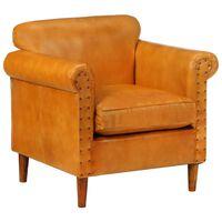vidaXL lænestol ægte læder gyldenbrun