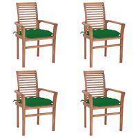 vidaXL spisebordsstole 4 stk. med grønne hynder massivt teaktræ