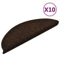 vidaXL selvklæbende trappemåtter 10 stk. 56x17x3 cm tuftet brun
