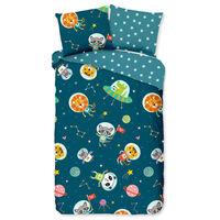 Good Morning sengetøj til børn SPACY 140x200/220 cm petroleumsblå