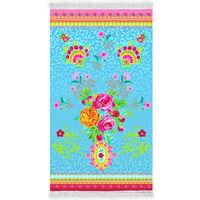 Happiness badehåndklæde WILD ROSE 100x180 cm aquablå