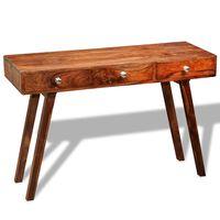 vidaXL konsolbord med 3 skuffer 76 cm massivt sheeshamtræ