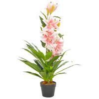 vidaXL kunstig plante lilje med urtepotte pink 90 cm