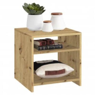 FMD sofabord med hylde antik egetræsfarve