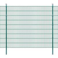 vidaXL 2D paneler og pæle til havehegn, 2.008x1.830 mm, 4 m, grønne