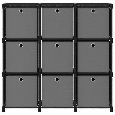 vidaXL displayreol med 9 rum og kasser 103x30x107,5 cm stof sort
