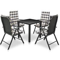 vidaXL udendørs spisebordssæt 5 dele med hynder aluminium sort