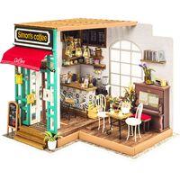 Robotime DIY-miniaturesæt Simon's Coffee med LED-lys