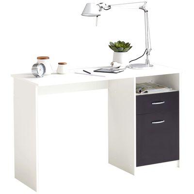 FMD skrivebord med 1 skuffe 123 x 50 x 76,5 cm hvid og sort