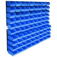 vidaXL opbevaringssæt med vægpaneler 96 dele blå