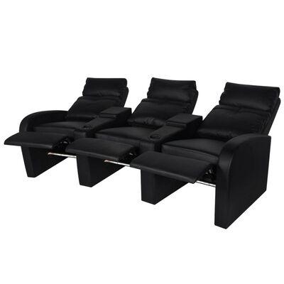 vidaXL 3-sæders LED Lænestol i kunstlæder, sort