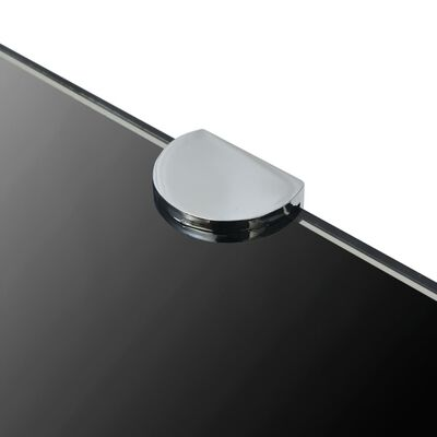 vidaXL hjørnehylde med krombeslag glas sort 45x45 cm