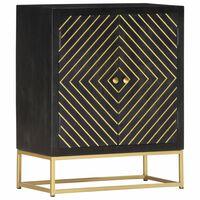 vidaXL skænk 60 x 30 x 75 cm massivt mangotræ sort og guldfarvet