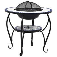 vidaXL bålfadsbord med mosaikdesign 68 cm keramisk blå og hvid