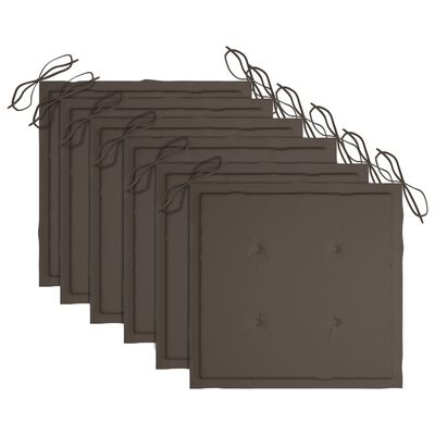vidaXL foldbare havestole 6 stk. med hynder massivt akacietræ
