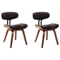 vidaXL spisebordsstole 2 stk. bøjet træ og stof grå