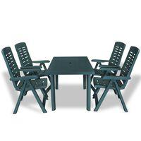 vidaXL udendørs spisebordssæt 5 dele plastik grøn