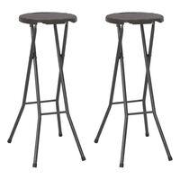 vidaXL foldbare barstole 2 stk. HDPE og stål brun rattanlook