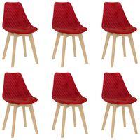vidaXL spisebordsstole 6 stk. fløjl rød