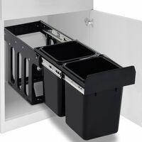 vidaXL udtrækkelig køkkenaffaldsspand med sortering soft-close 20 l