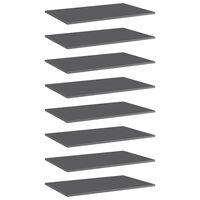 vidaXL boghylder 8 stk. 80x50x1,5 cm spånplade grå højglans