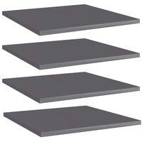 vidaXL boghylder 4 stk. 40x40x1,5 cm spånplade grå højglans