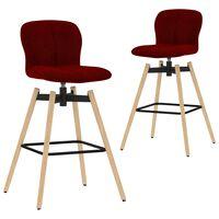 vidaXL drejelige barstole 2 stk. stof vinrød
